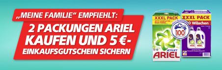 2 Packungen Ariel Kaufen und 5 € Gutschein sichern!