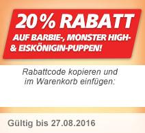 20% auf Barbie, Monster High und Eiskönigin Puppen