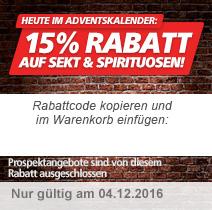 15% auf Sekt & Spirituosen