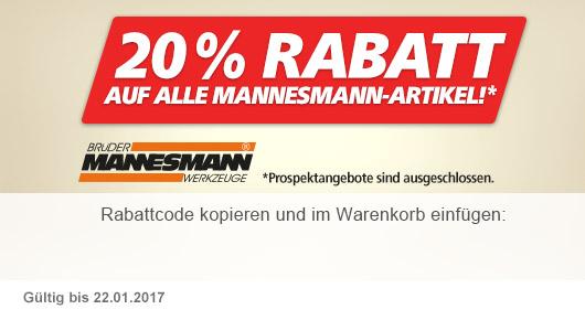 20 % auf Mannesmann-Artikel!