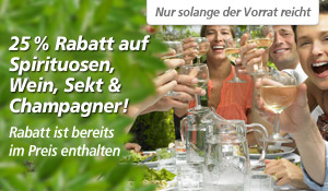 25% Rabatt auf Spirituosen, Wein, Sekt &amp; Champagner